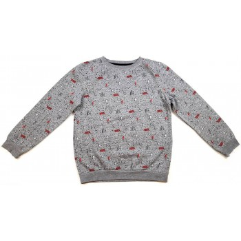 Mintás, feliratos szürke pulóver (158)