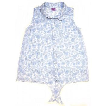 Kék virágos fehér felső (152)