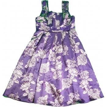 Virágos sötétlila szatén ruha (152)