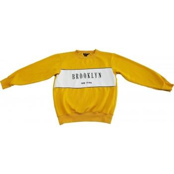 Feliratos mustársárga pulóver (140-146)