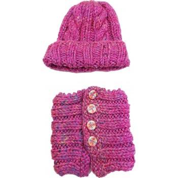 Pink sapka-sál szett (140-158)