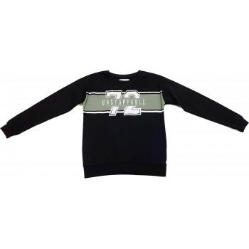 Feliratos fekete pulóver (152)