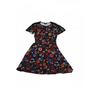 Virágmintás fekete ruha (36)