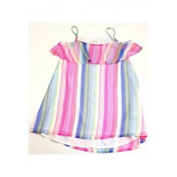 Pink-kék csíkos ruha (146)