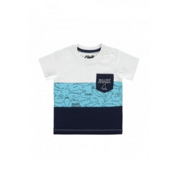 Kék-fehér sávos, cápás felső (74)