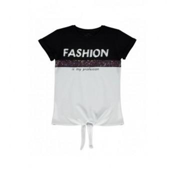 Fekete-fehér Fashion felső (140-146)