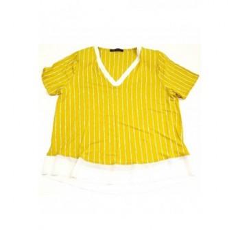 Csíkos mustársárga felső (40)