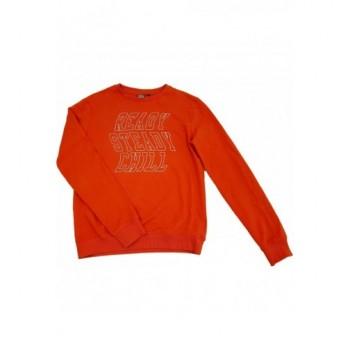 Feliratos narancssárga pulóver (164-170)