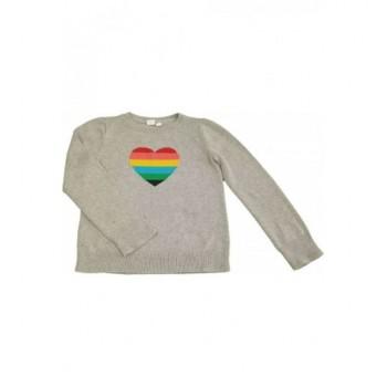 Szívecskés szürke pulóver (140)