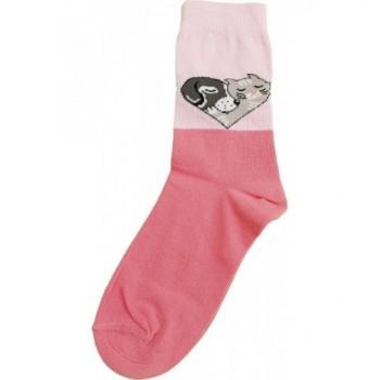 Rózsaszín, kutyás-cicás prémium zokni (26-28)