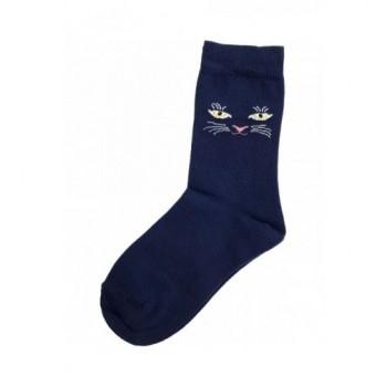 Sötétkék cicás prémium zokni (32-34)