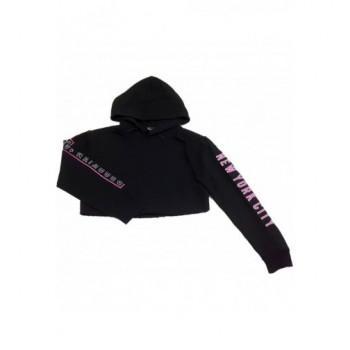 Feliratos fekete crop pulóver (140-146)