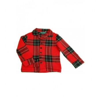 Piros kockás flanel pizsamafelső (104)