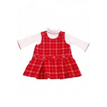 Kockás piros ruha felsővel (62)