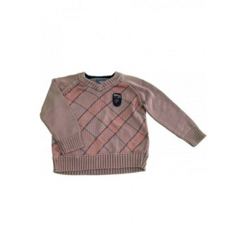 Kockás drapp pulóver (98-104)