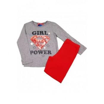 Piros-szürke Girl power pizsama (116)