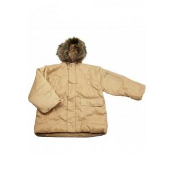 Szőrmés kapucnis bézs kabát (122)