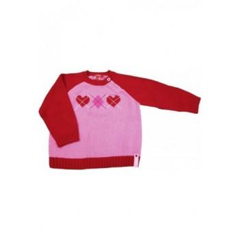 Szívecskés rózsaszín pulóver (74)