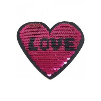 Ruhára vasalható folt – pink-ezüst szív