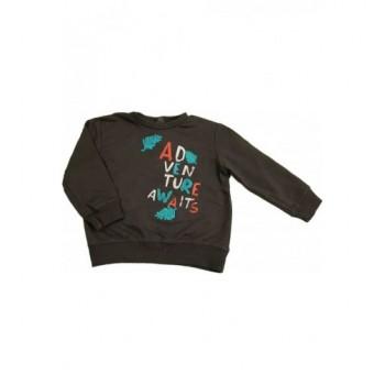 Feliratos sötétszürke pulóver (80)