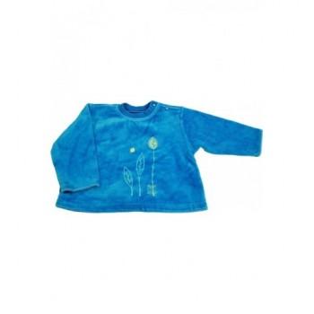 Levélmintás, kifordítható kék pulóver (80)