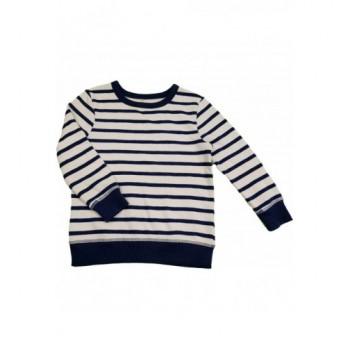 Kék csíkos fehér pulóver (104-110)