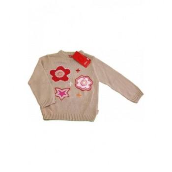 Virágos bézs pulóver (98-104)