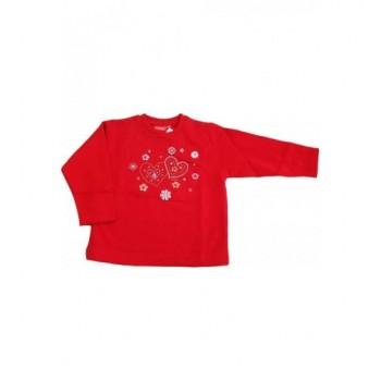 Szívecskés piros pulóver (92-98)