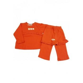 Virágos narancs felső nadrággal (68-74)