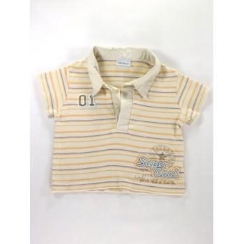 Drapp kék-sárga csíkos póló