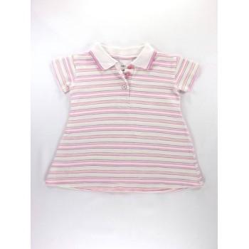 Rózsaszín csíkos galléros ruha