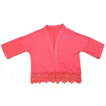 Pink, csipkés kardigán (128)