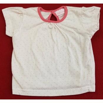 Rózsaszín pöttyös fehér felső (68)