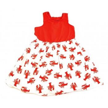 Piros-fehér rákmintás ruha (128)