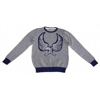Madárcsontvázas kék pulóver (152)