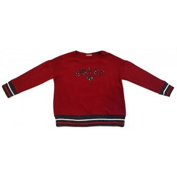 Flitter feliratos bordó pulóver (134)