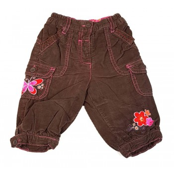 Virágos bélelt barna nadrág (68)