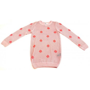 Rózsaszín horgolt pulóver (146-152)