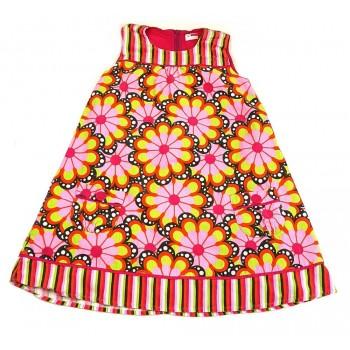 Rózsaszín virágos mikrokord ruha (140)