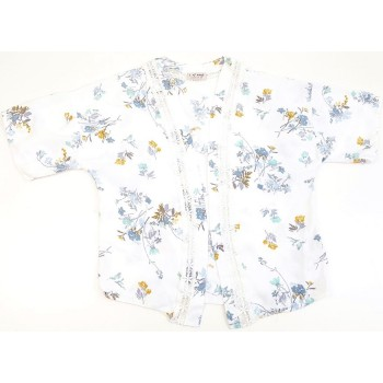 Virágmintás fehér kardigán (146)