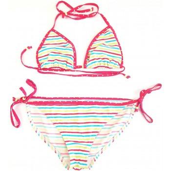 Színes csíkos fehér bikini (164-170)